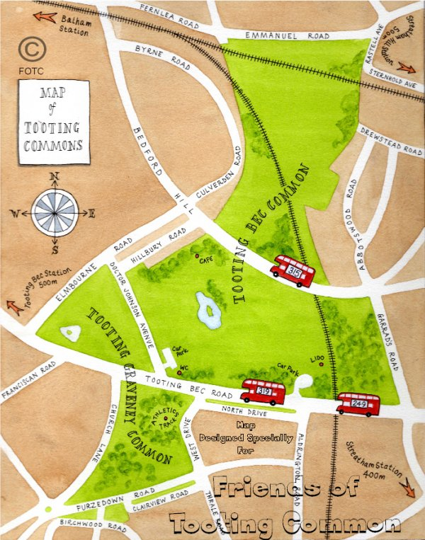 Tooting Common Illustrated Map